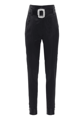Wool Blend Satin Pants W/jewel Buckle