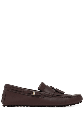 Gg Metal Leather Driver Loafers