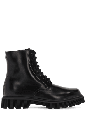 Gg Metal Leather Combat Boots
