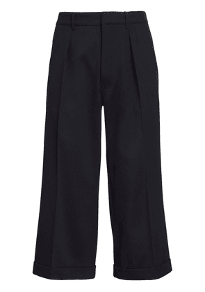 Flared Wool Blend Crop Pants
