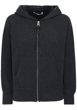 Zip-up Cashmere Knit Hoodie
