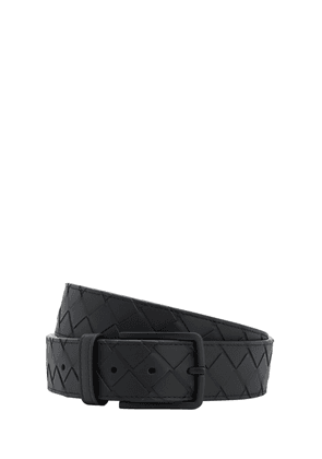 35mm New Intreccio Buckle Leather Belt