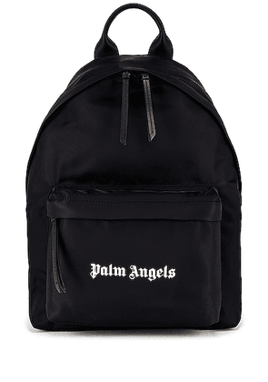 Palm Angels Logo Backpack in Black & White - Black. Size all.