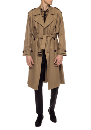 Saint Laurent Double-breasted Trench Coat Men's Multicolor