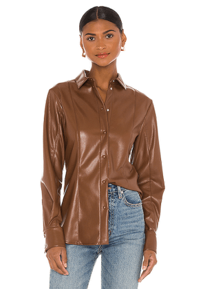 MSGM Button Down Top in Chocolate. Size 40/S,42/M,44/L.