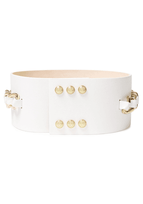 Balmain Chain-trimmed Leather Belt Woman White Size 38