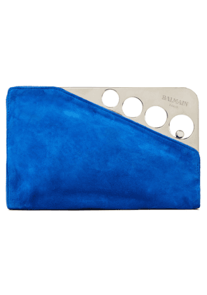 Balmain Suede And Silver-tone Clutch Woman Cobalt blue Size --
