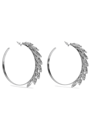 Elizabeth Cole Edmund Silver-tone Crystal Hoop Earrings Woman Silver Size --