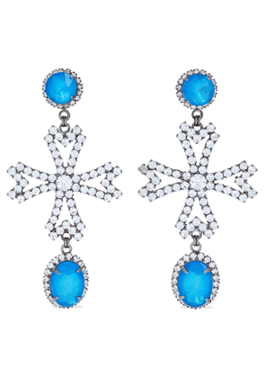 Elizabeth Cole Cynthia Hematite-plated Crystal Earrings Woman Blue Size --