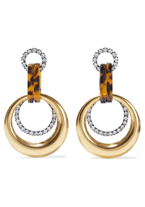 Elizabeth Cole Hannah 24-karat Gold-plated, Crystal And Tortoiseshell Acetate Earrings Woman Gold Size --