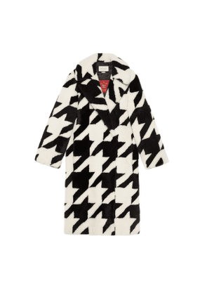 Houndstooth shearling coat