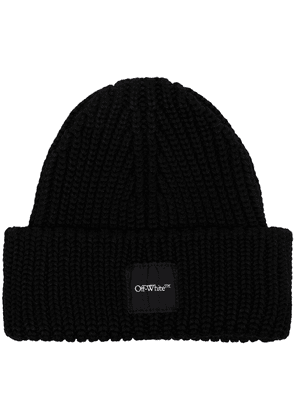 Off-White logo-patch ribbed-knit beanie - Black