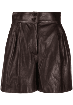 Dolce & Gabbana pleated leather shorts - Brown