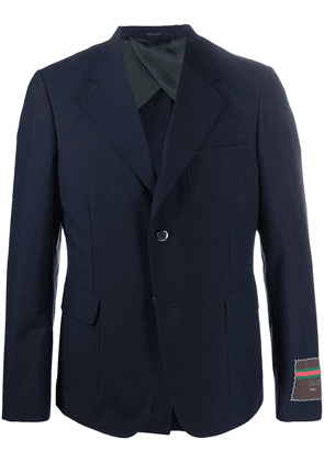Gucci Gucci label single-breasted blazer - Blue