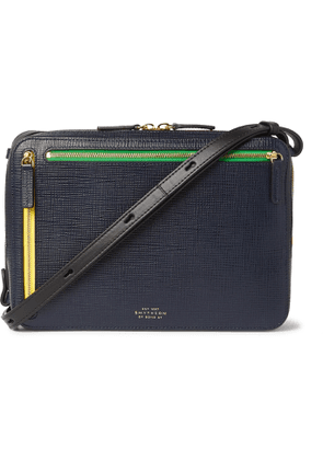 Smythson - Cross-Grain Leather Messenger Bag - Men - Blue