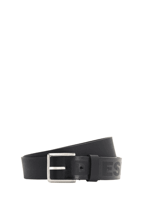 3.5cm Leather Print Logo Belt