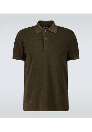 Short-sleeved towelling polo shirt