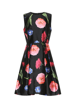 Floral silk and cotton minidress