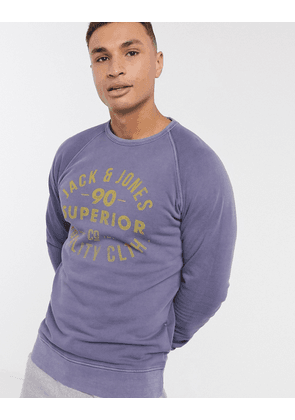 Jack & Jones vintage logo sweatshirt in washed navy