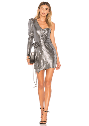 NBD Aoki Dress in Metallic Silver. Size XXS.