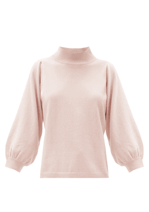 Allude - Funnel-neck Balloon-sleeve Wool-blend Sweater - Womens - Pink