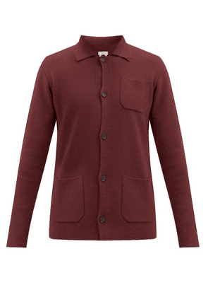 Caruso - Patch-pocket Wool Cardigan - Mens - Burgundy
