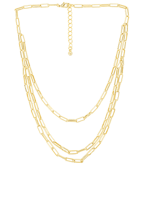 Uncommon James Three Link Necklace in Metallic Gold.