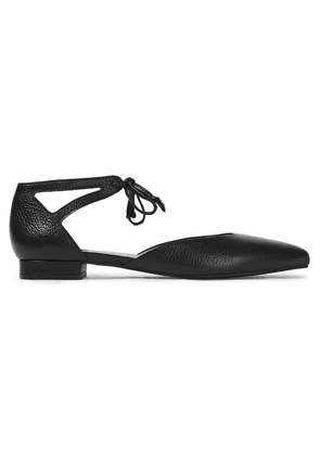 French Sole Penelope Cutout Textured-leather Point-toe Flats Woman Black Size 36