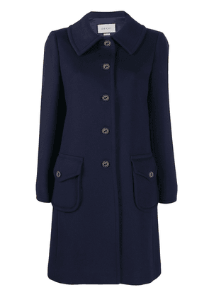 Gucci branded button single breasted coat - Blue