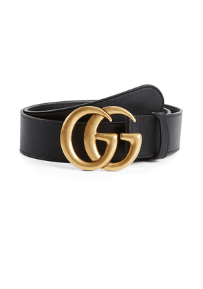 Gucci Leather Belt With Double G Buckle In Nero in Nero - Black. Size 80 (also in 85,90).