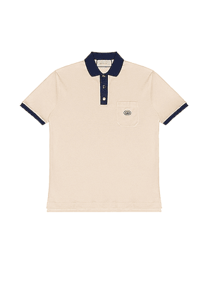Gucci Short Sleeve Polo in Bone & Inchiostro - Neutral. Size M (also in XL).