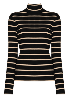 Ninety Percent striped roll neck top - Black