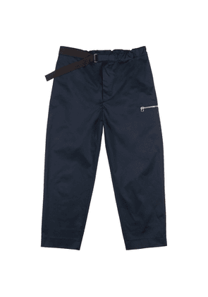 OAMC Navy Tapered Cropped Cotton Trousers