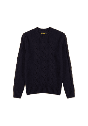 Barbour Lenn Navy Cable-knit Wool-blend Jumper
