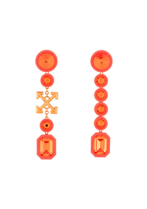 Off-White Arrows crystal drop earrings - ORANGE
