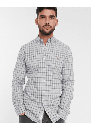 Polo Ralph Lauren slim fit oxford shirt in grey check with logo