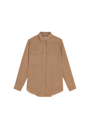Equipment Signature Camel Printed Silk Shirt