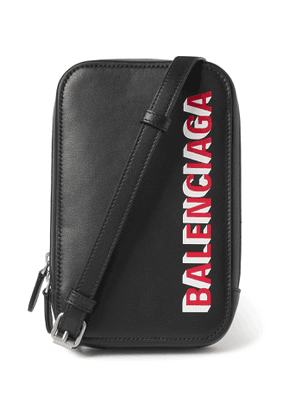 Balenciaga - Logo-Print Leather Phone Pouch - Men - Black