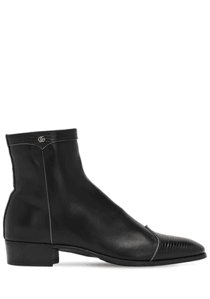 Gg Detail & Embossed Leather Boots