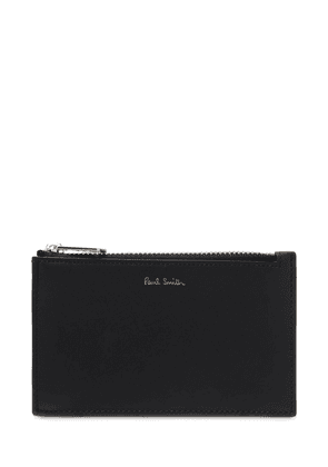 Striped Leather Zip Card Holder