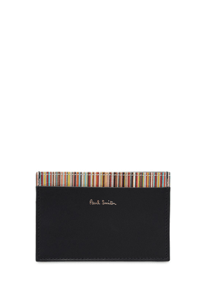 Striped Leather Card Holder
