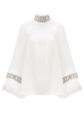 Andrew Gn - Crystal & Ostrich Feather-trimmed Crepe Blouse - Womens - Ivory