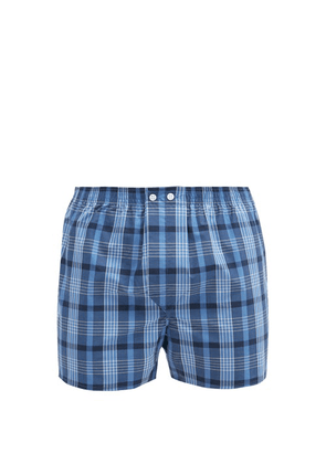 Derek Rose - Nelson Checked Cotton-poplin Boxer Shorts - Mens - Blue Multi