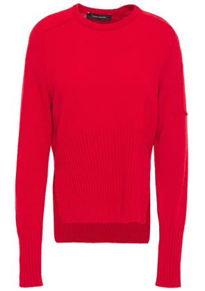 Cedric Charlier Ribbed Knit-paneled Wool Sweater Woman Red Size 38