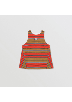 Burberry Childrens Logo Appliqué Striped Towelling Top, Red