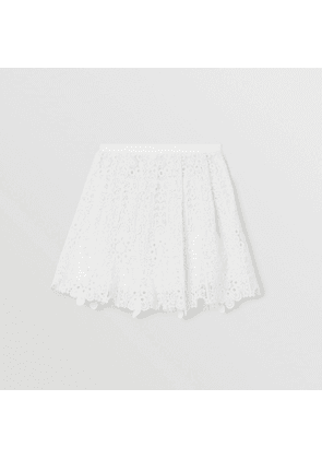 Burberry Childrens Pleated Macramé Lace Skirt, White