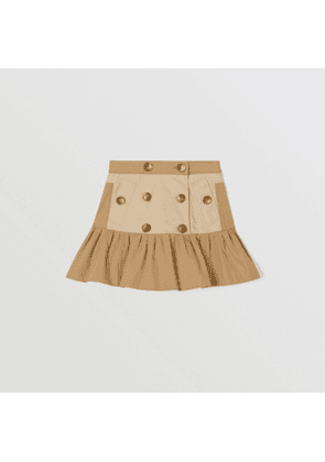 Burberry Childrens Gathered Cotton Twill Trench Skirt, Yellow