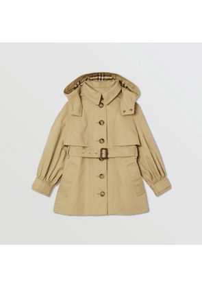 Burberry Childrens Detachable Hood Cotton Twill Trench Coat, Yellow