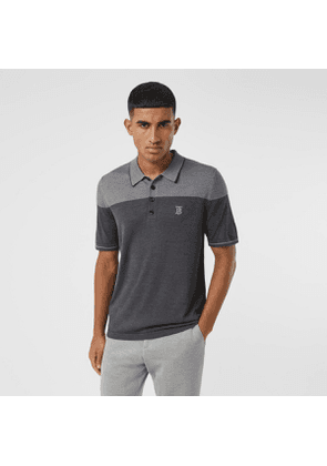 Burberry Monogram Motif Two-tone Silk Cashmere Polo Shirt, Grey