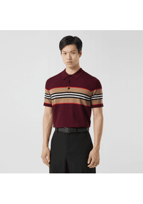 Burberry Icon Stripe Detail Merino Wool Polo Shirt, Red